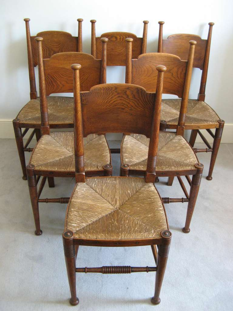 Arts and crafts furniture chair - Set Of Six Arts And Crafts Dining Chairs By William Birch Sold