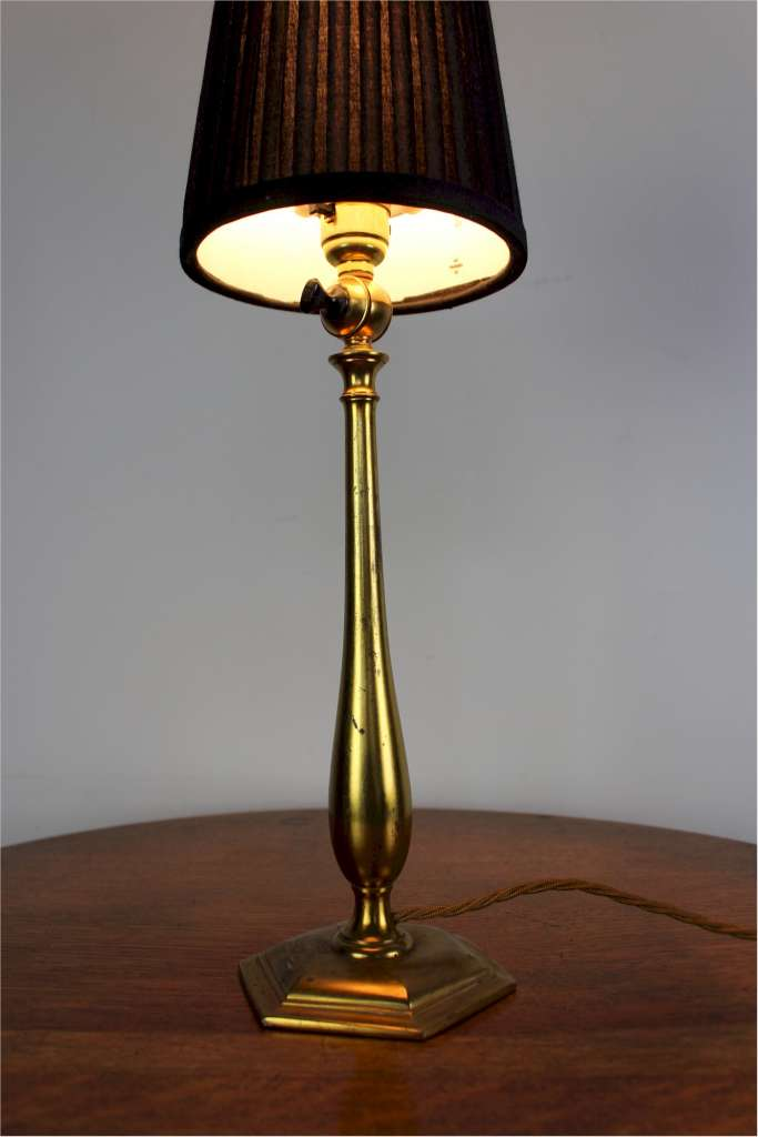 arts and crafts period brass table lamp by faraday and son lighting. Black Bedroom Furniture Sets. Home Design Ideas