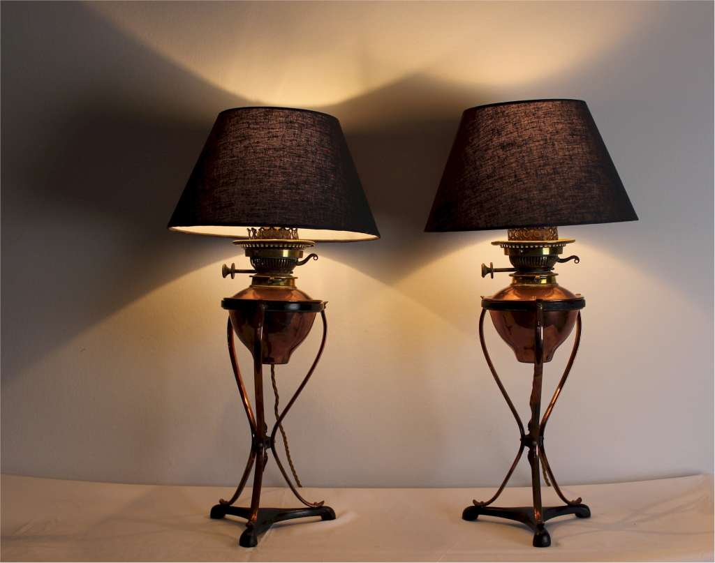 crafts table lamps by w a s benson pair of arts and crafts table lamps. Black Bedroom Furniture Sets. Home Design Ideas