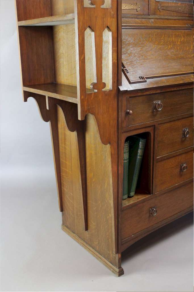 arts and crafts bureau bookcase. Black Bedroom Furniture Sets. Home Design Ideas