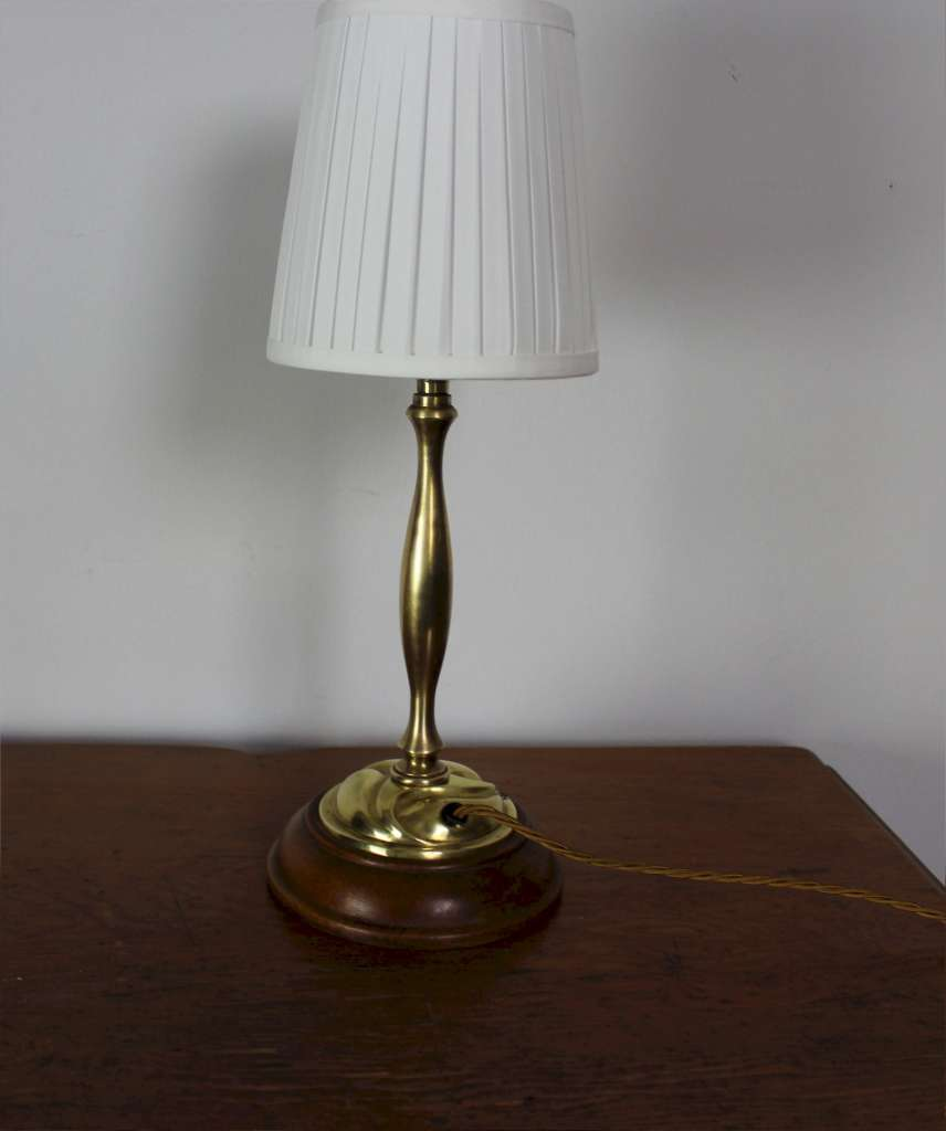 Arts and crafts brass table lamp on wooden plinth for Crafting wooden lamps