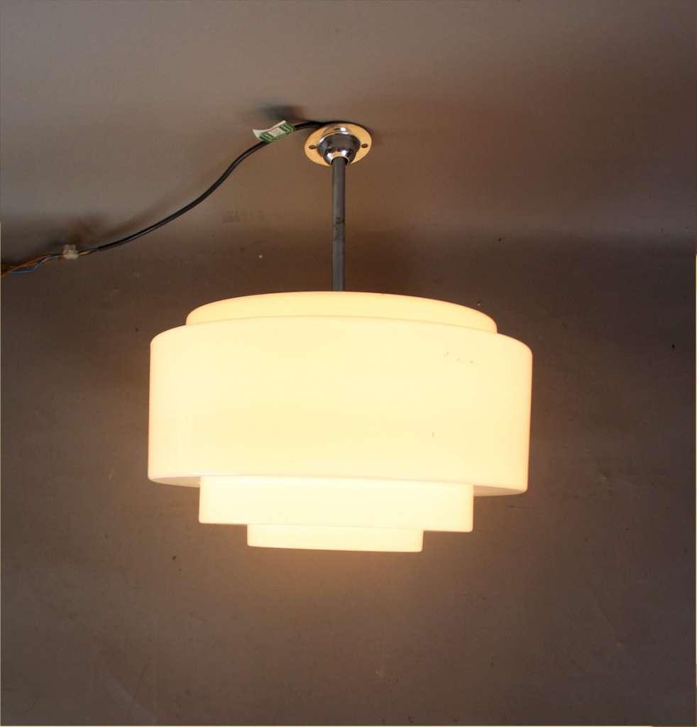 Art Deco Modernist Chrome And Stepped Opaline Lamp Shade