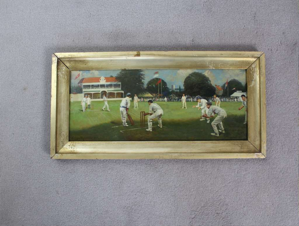 Oil painting of a cricket match signed and dated art for The cricket arts and crafts