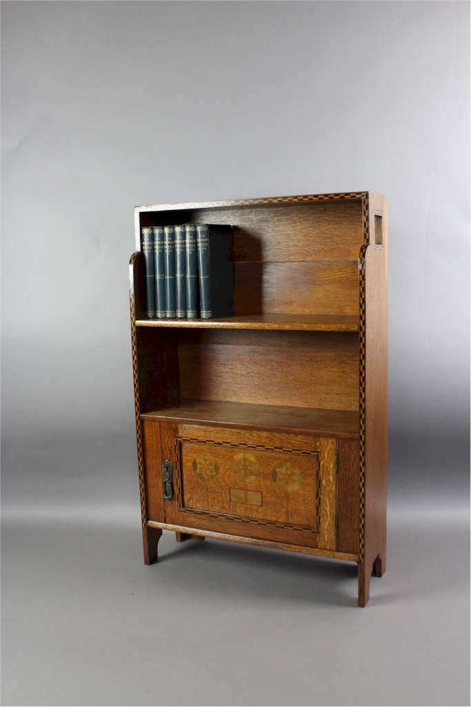 shapland and petter arts and crafts dwarf bookcase. Black Bedroom Furniture Sets. Home Design Ideas