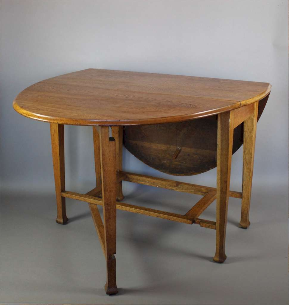Arts And Crafts Period Oak Gate Leg Drop Leaf Dining Table Sold