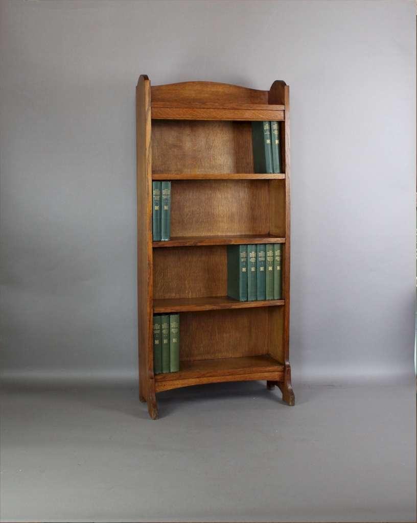 Heals arts and crafts oak open bookcase storage art for Arts and crafts bookshelf