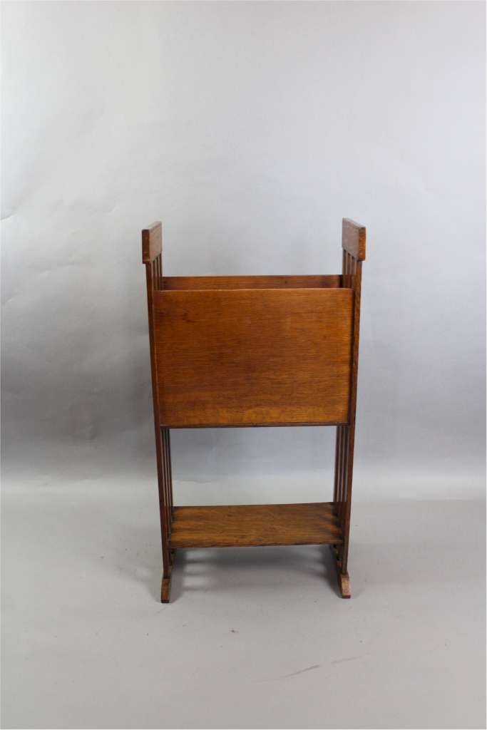 Arts And Crafts Oak And Leather Magazine Rack Arts And