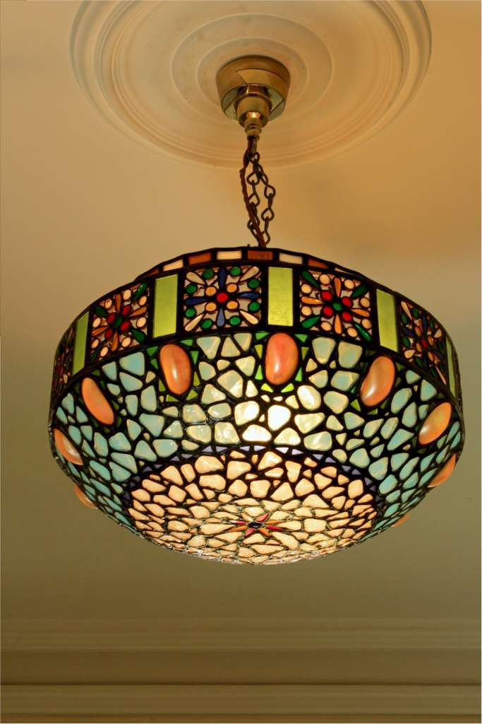 Stunning hanging lamp shade with abalone shells and multi coloured stunning hanging lamp shade with abalone shells and multi coloured glass mozeypictures Images