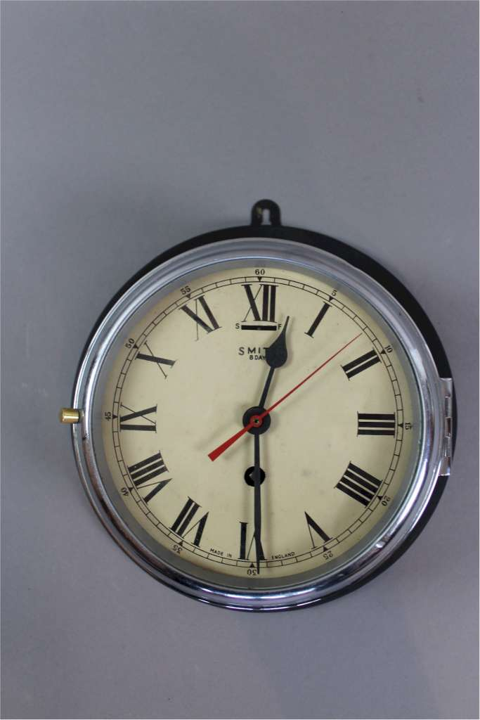 Ships Clock By Smiths 8 Day Black And Chrome Latest