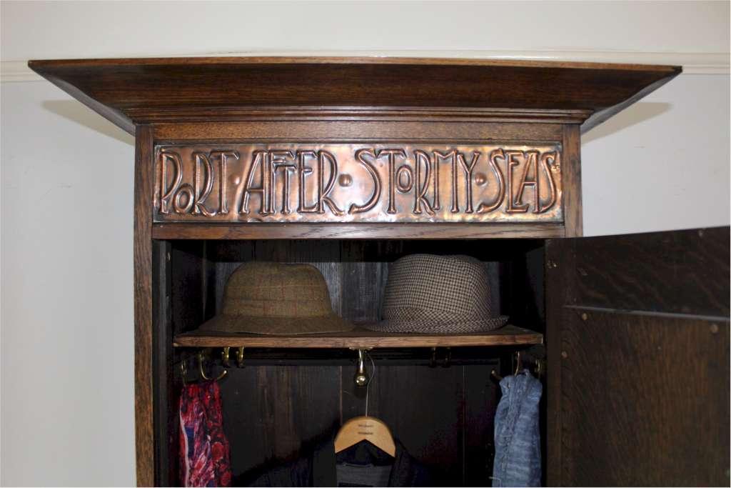 arts and crafts oak hall cupboard port after stormy. Black Bedroom Furniture Sets. Home Design Ideas